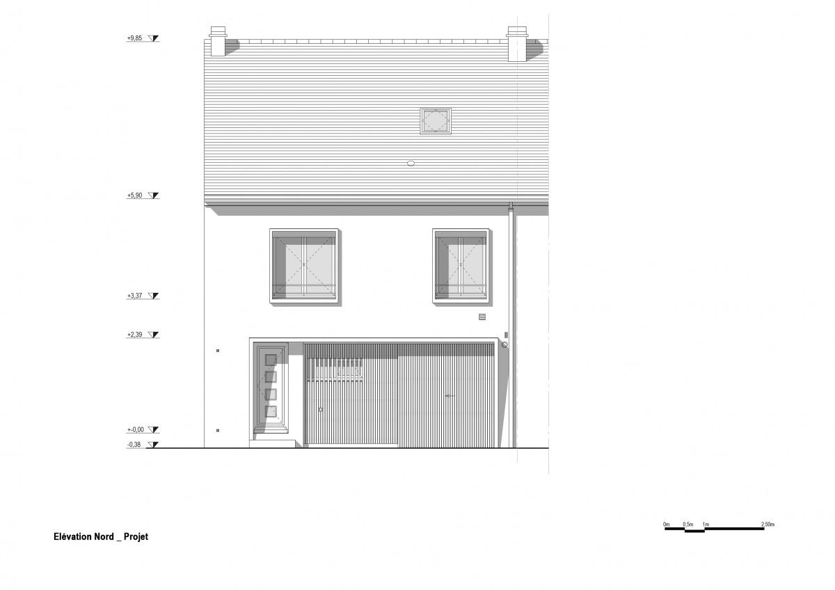Maison R : Elévation nord