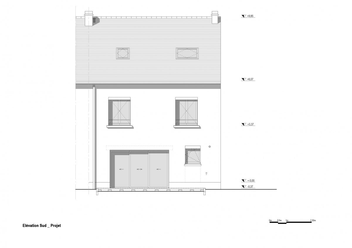 Maison R : Elévation sud