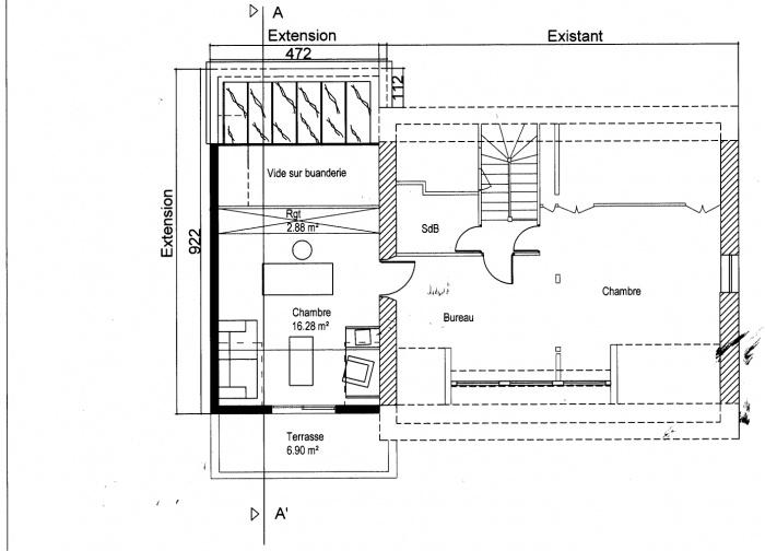 Extension et Surélévation : Plan étage