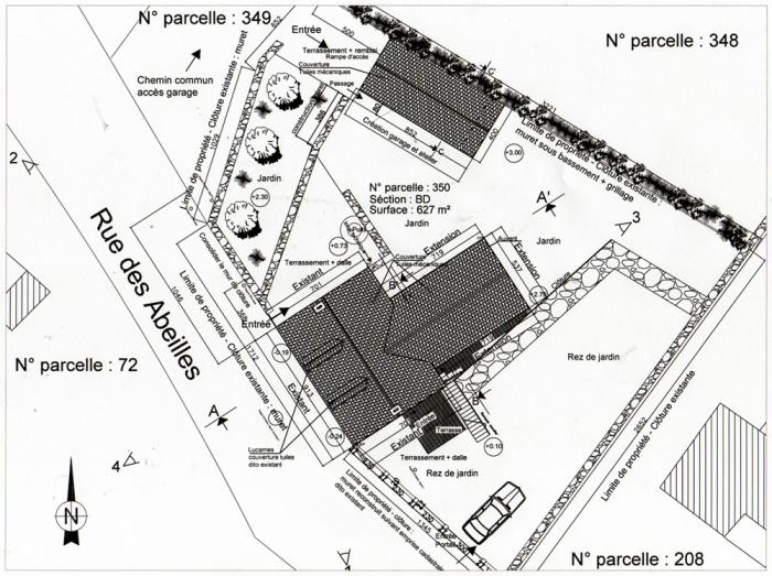 Rénovation, extension d'une maison et construction d'un garage ( projet en cours ) : Plan masse projet