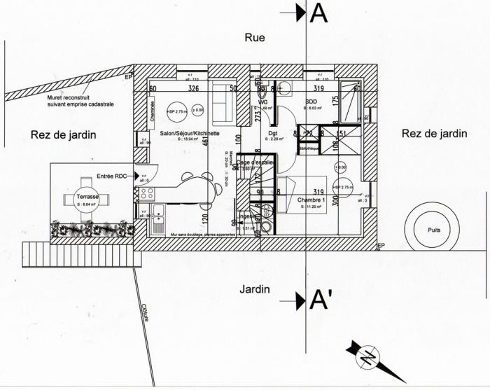 Rénovation, extension d'une maison et construction d'un garage ( projet en cours ) : Plan RDC projet