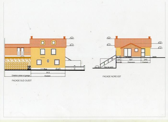 Rénovation, extension d'une maison et construction d'un garage ( projet en cours ) : Façades rue et jardin projet