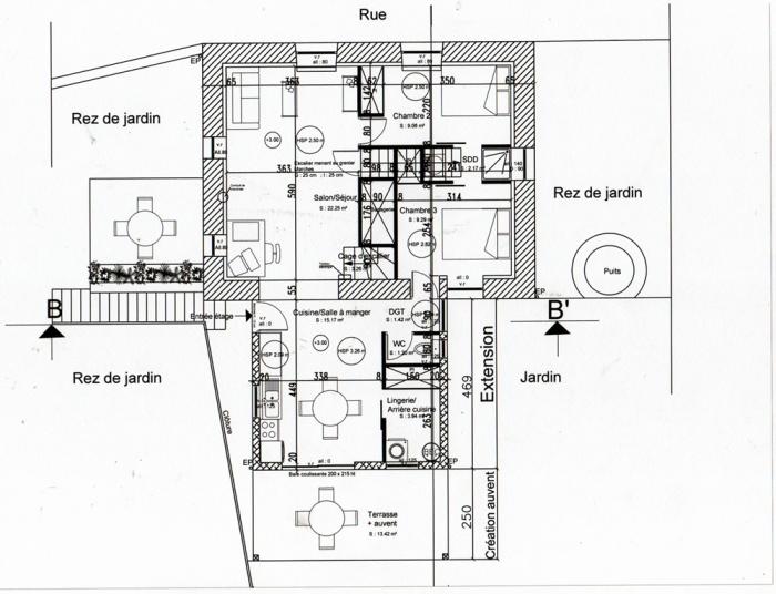 Rénovation, extension d'une maison et construction d'un garage ( projet en cours ) : Plan étage projet