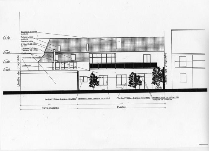 Rénovation d'une maison et aménagement de son extension ( projet en cours ) : Façade sur cour projet