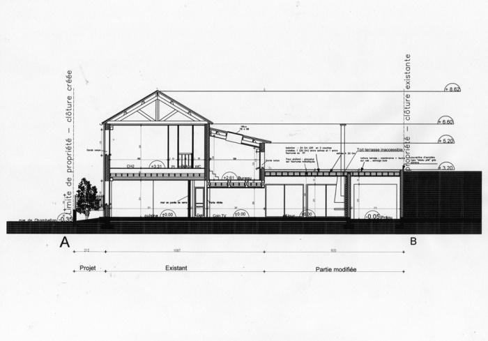 Rénovation d'une maison et aménagement de son extension ( projet en cours ) : Coupe projet extension