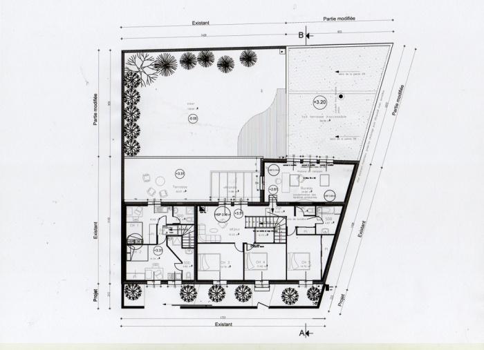 Rénovation d'une maison et aménagement de son extension ( projet en cours ) : Plan étage projet