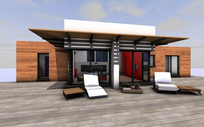 Maison contemporaine sulniac sulniac for Facade maison en bois