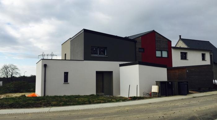 Maison neuve LS+H : 8- Maison moderne maison contemporaine zinc enduit gris blanc taupe agence 2.2 vues servon sur vilaine 2.2vues architecte et maitre d\'oeuvre 35 53