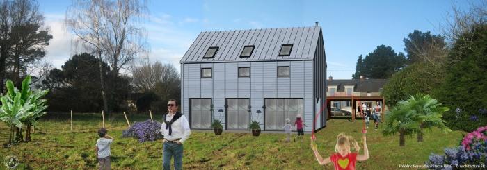 Construction à la campagne d'une maison bleue